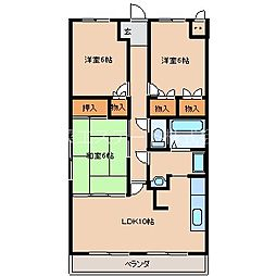 フローラルマンション[403号室]の間取り