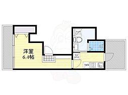 THE KAHALA 武蔵小山 5階1Kの間取り