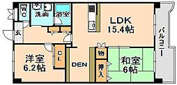兵庫県伊丹市桜ケ丘8丁目の賃貸マンションの間取り