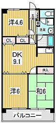 清水山第2パークハイツ[0406号室]の間取り