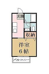 埼玉県草加市花栗4丁目の賃貸アパートの間取り