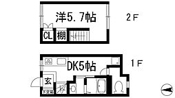 [テラスハウス] 兵庫県川西市寺畑1丁目 の賃貸【兵庫県 / 川西市】の間取り