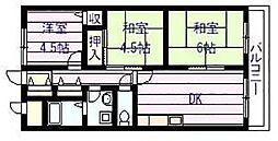 大阪府柏原市国分西2丁目の賃貸マンションの間取り