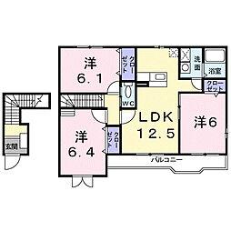 パークハイツ西田[2階]の間取り