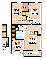 (仮称)D-room若江南町 B棟[2階]の間取り