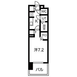 パルティール黒川アネックス 4階1Kの間取り