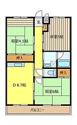 コ−ポ榎本[102号室]の間取り