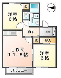 愛知県あま市新居屋清明の賃貸アパートの間取り