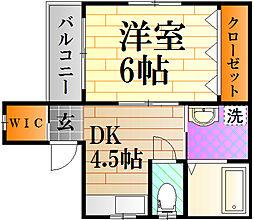 広島電鉄1系統 皆実町六丁目駅 徒歩9分の賃貸マンション 1階1Kの間取り