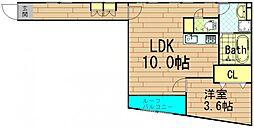 リバーサイド北堀江[4階]の間取り