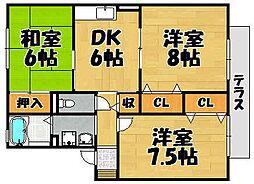 兵庫県川西市萩原1の賃貸アパートの間取り