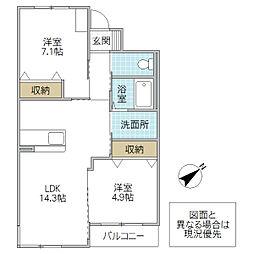 (仮)つくば市流星台新築マンション 2階2LDKの間取り