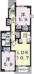 アルカンシエルB[1階号室]の間取り