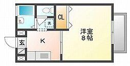 岡山県岡山市中区清水1丁目の賃貸アパートの間取り