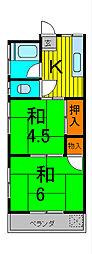 弘和荘[2階]の間取り