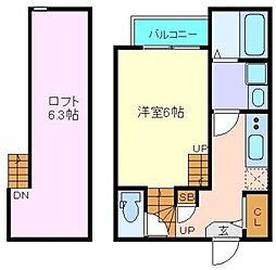 ソレイユ仙台 1階1Kの間取り