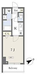 プライムコート本八幡 6階1Kの間取り