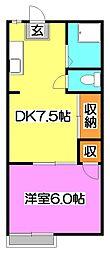 サンライズアパートメント B[2階]の間取り