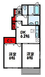 福岡県遠賀郡遠賀町大字別府の賃貸アパートの間取り