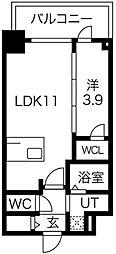プレサンス京町堀 9階1LDKの間取り