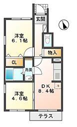 滋賀県蒲生郡日野町村井2丁目の賃貸アパートの間取り