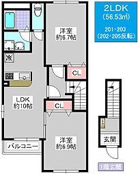 レジデンス大正千島[2-202号室]の間取り