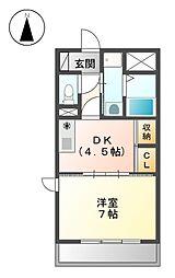ディアコ−ト磯部第6[4階]の間取り
