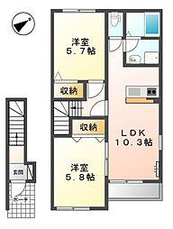 兵庫県明石市大蔵町の賃貸アパートの間取り