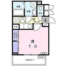 小田急小田原線 愛甲石田駅 徒歩12分の賃貸アパート 1階1Kの間取り