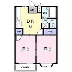 埼玉県熊谷市大原3丁目の賃貸アパートの間取り