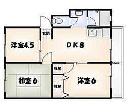 橋川マンション 第1[3階]の間取り