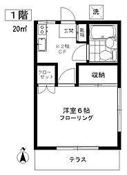 東京都目黒区中町2の賃貸アパートの間取り