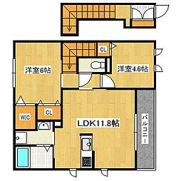 兵庫県神戸市垂水区福田5丁目の賃貸アパートの間取り