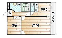 福岡県北九州市小倉北区古船場町の賃貸マンションの間取り