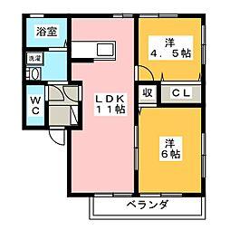 静岡県静岡市駿河区青木の賃貸アパートの間取り