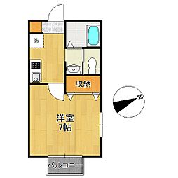 千葉県柏市大室2丁目の賃貸アパートの間取り