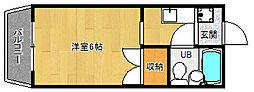 京都府京都市山科区四ノ宮川原町の賃貸マンションの間取り