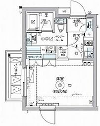 東急大井町線 九品仏駅 徒歩4分の賃貸マンション 3階1Kの間取り
