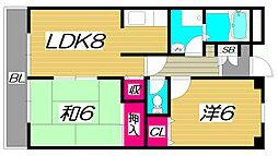 ラ・リヴェールレスト 3階2LDKの間取り
