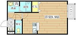 大阪府高槻市真上町2丁目の賃貸アパートの間取り