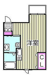ベックアパートメントワラビ 2階ワンルームの間取り