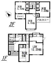 [一戸建] 埼玉県上尾市上平中央1丁目 の賃貸【/】の間取り