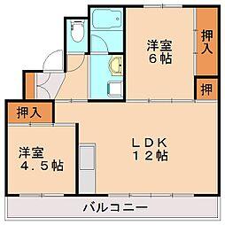ビレッジハウス頴田1号棟[3階]の間取り