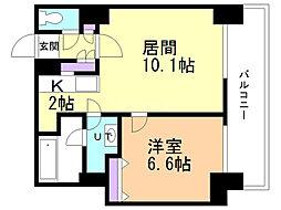 グランドタワー札幌 13階1LDKの間取り