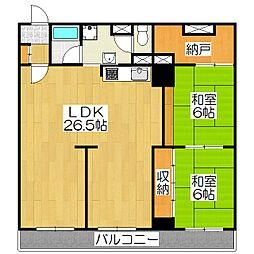 京都二条ハイツ[11F号室]の間取り