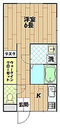 藤美荘[203号室]の間取り