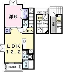 プラシード 3階1LDKの間取り