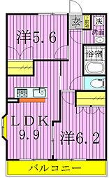 千葉県流山市西初石5丁目の賃貸アパートの間取り