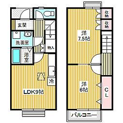 [テラスハウス] 愛知県名古屋市中川区大当郎2丁目 の賃貸【/】の間取り