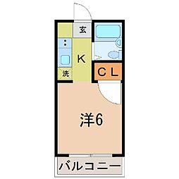 山梨県甲府市富士見2丁目の賃貸マンションの間取り